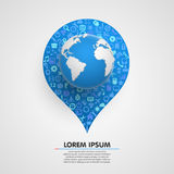 World globe with app icons sircle. Royalty Free Stock Image