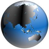 World Globe:Asia, with blue-shaded oceans Stock Images