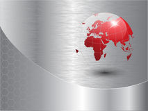 World globe background. With polished metal texture, vector Stock Photography