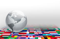 World globe on a background made of flags. Stock Photos