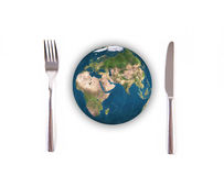 World globe ball with fork and knife, Elements of this image fur Stock Image