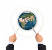 World globe ball with fork and knife, Elements of this image fur Royalty Free Stock Image