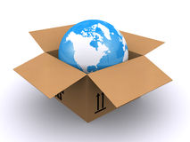 World globe in a box Stock Images