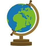Bright World Globe on Stand Illustration. World globe on bronze stand isolated on white background Royalty Free Stock Images