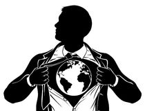 World Globe Business Superhero Tearing Shirt Chest stock illustration