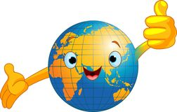 World globe character. Cartoon world globe giving thumbs up.  (Old World Stock Images