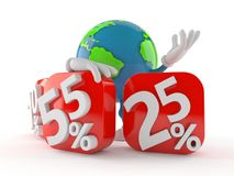 World globe character behind percentage signs Royalty Free Stock Photography