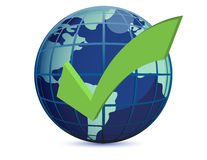 World globe and checkmark Stock Photo