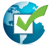 World globe and checkmark. Over a white background Stock Photos