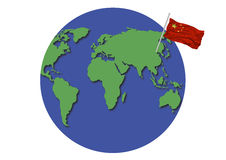 World Globe China Flag Stock Photos