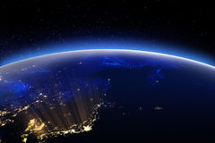 World globe city lights. Elements of this image furnished by NAS Royalty Free Stock Photography