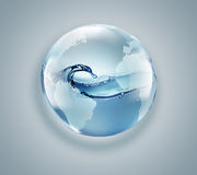 World globe with clean water inside Royalty Free Stock Images