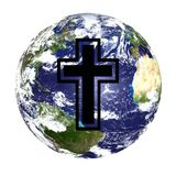 World globe and cross. A view of the earth from space with the black outline of a Christian cross superimposed on it Royalty Free Stock Photo