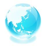World globe. Crystal earth world globe asia Royalty Free Stock Photos