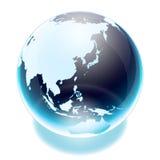 World globe. Crystal earth world globe asia Royalty Free Stock Images