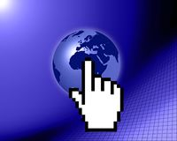 World globe with cursor Stock Photography