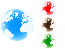 World globe different colors Stock Image