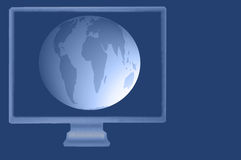 World or Globe Displayed on Monitor Stock Image