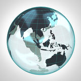 World globe earth bubble focused to Asia and Australia Royalty Free Stock Image