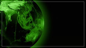 World globe Earth Green Techno electronic vision. Scanning monitor view, seamless looping Last 15 seconds. in Full HD and smaller sizes stock footage