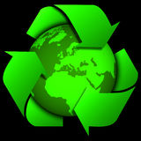World globe or earth with recycle signs Royalty Free Stock Image