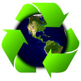 World globe or earth with recycle signs Royalty Free Stock Images