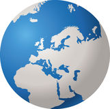 WORLD GLOBE EUROPE. World globe isolated on white background with EUROPE Royalty Free Stock Photography