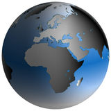 World Globe:Europe-Africa, with blue-shaded oceans. Highly-detailed world map in spherical co-ordinates, with Europe-Africa continent in view Royalty Free Stock Image