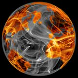 World globe in fire. Isolated on black Stock Photography
