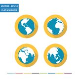 World globe flat icons. With long shadow. Vector Illustration Royalty Free Stock Images