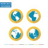 World globe flat icons Royalty Free Stock Images