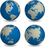 World globe in four different global viewpoint Stock Images