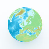 World globe with geographical features Stock Image