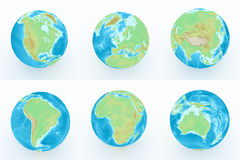 World globe with geographical features Royalty Free Stock Photo