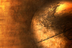 Business World Globe Global Background. A close up world globe on a warm toned gold background with texture Stock Photo