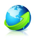 World Globe Go Green. With light reflection stock illustration
