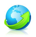 World Globe Go Green. With light reflection royalty free illustration
