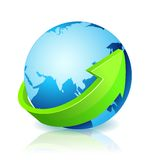 World Globe Go Green. With light reflection vector illustration
