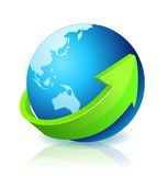 World Globe Go Green. With light reflection Stock Images
