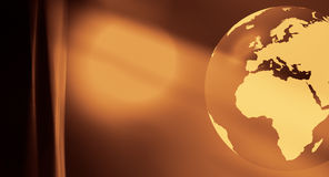 World globe gold abstract background. World globe on abstract background Royalty Free Stock Photography