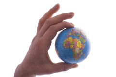 World globe. Hand holding isolated on a white background royalty free stock photography