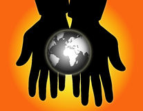 World Globe in Hands Stock Photos