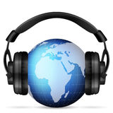 World globe headphone Royalty Free Stock Images