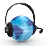 World globe with headphones Stock Photos