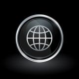 World globe icon inside round silver and black emblem Stock Photos