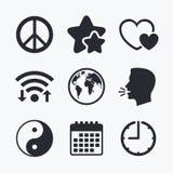 World globe icon. Ying yang sign. Hearts love. Royalty Free Stock Image