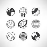 World globe icons. Set of 9 world globe icons, global concept Royalty Free Stock Images