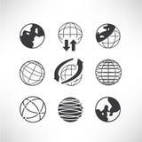 World globe icons. Set of 9 world globe icons, global concept Stock Illustration