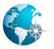 World globe illustration with compass Stock Photos
