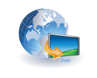 World globe with lcd monitor Royalty Free Stock Photos